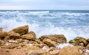 Picture sand, wave, water, nature, stones, Sea