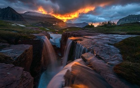 Picture the sky, mountains, clouds, river, rocks, waterfall