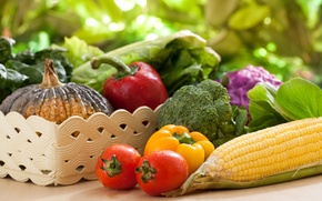 Picture photo, Vegetables, Pepper, Tomatoes, Food, Corn