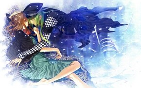 Picture water, flowers, bones, two, cap, long hair, amnesia, heroine, chess square, ukyo, by mai hanamura