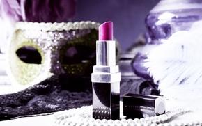 Picture Shine, lipstick, mask, beads