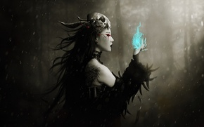 Picture forest, girl, magic, skull, feathers, tattoo, art, profile, witch