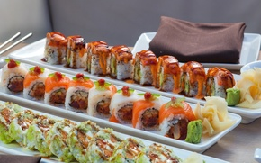 Wallpaper figure, wasabi, seafood, Japanese cuisine, ginger, sushi