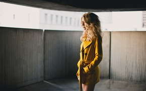 Picture girl, blonde, coat, Alexis Coons