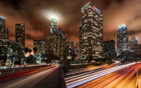 Picture night, the city, lights, road, home, skyscrapers, Los Angeles