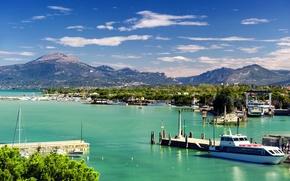 Picture trees, mountains, lake, shore, home, boats, Italy, boats, piers, Veneto, Peschiera del Garda