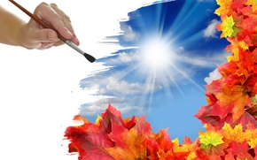 Picture autumn, leaves, the sun, clouds, figure, hand, brush
