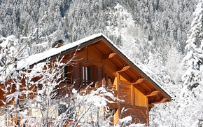 Wallpaper winter, house, style, mood, stay, journey, cottage, winter forest