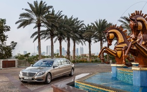 Picture horses, fountain, Mercedes, Maybach, Pullman, S600, 2016