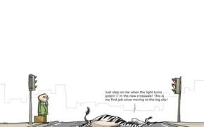 Wallpaper humor, caricature, Wulffmorgenthaler, the transition, Zebra