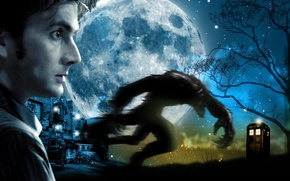 Picture stars, night, face, tree, the moon, monster, actor, profile, male, booth, beast, werewolf, Doctor Who, …