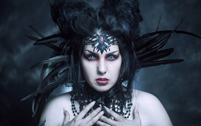 Picture look, style, feathers, makeup, costume, Maleficent