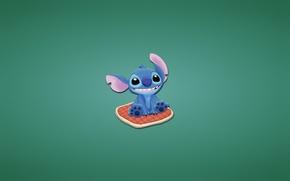 Picture blue, smile, pillow, sitting, Lilo & Stitch, Lilo and Stitch, alien genetic experiment