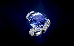 Picture blue, stone, ring, decoration, diamond, sapphire