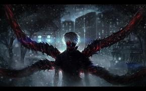 Picture night, darkness, anime, art, guy, white hair, Tokyo Ghoul, Ken Kanek