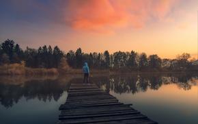 Picture twilight, trees, sunset, clouds, lake, man, dusk, reflection, pier, lakeshore