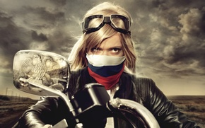 Picture blonde, Motorcycle, coat of arms, tricolor