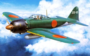 Picture Mitsubishi A6M Reisen (Type 0), art, WW2, Japanese, deck, fighter, figure, the sky