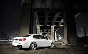 Picture white, night, bridge, BMW, BMW, white, 750Li, 7 Series, concrete pillars, F02
