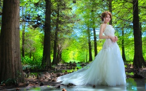Wallpaper forest, water, girl, trees, dress, Asian, the bride