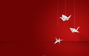 Picture Origami, Red Background, Thread