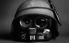 Picture the camera, helmet, helmet