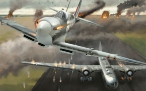 Picture war, art, airplane, Spitfire, painting, ww2, attack, Heinkel He 177