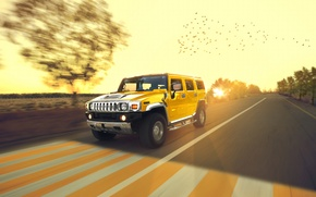 Picture Speed, Hummer, Sun, Yellow, Road, Chrome