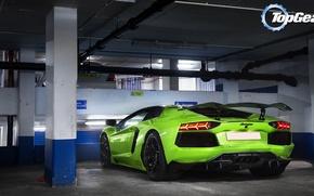 Picture background, Lamborghini, Top Gear, Parking, rear view, Lamborghini, Aventador, the best TV show, top gear, …