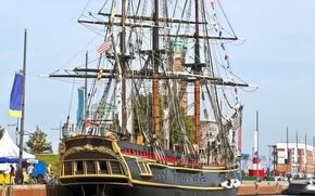 Picture sea, the sky, ship, sailboat