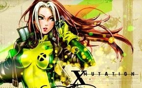 Picture jacket, gloves, red, jumpsuit, long hair, comic, Rogue, super girl, Marvel comics, X-mutation, X-Men