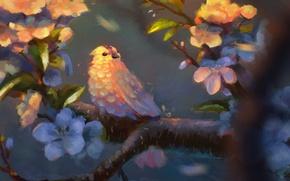 Wallpaper leaves, flowers, tree, bird, branch, art, bird