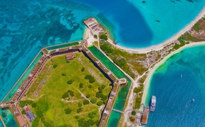 Wallpaper sea, FL, USA, fortress, Dry Tortugas National Park, Fort Jefferson