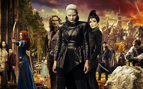 Picture forest, castle, collage, fantasy, Jennifer Morrison, the series, poster, knights, characters, archers, TV Series, Once ...