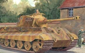 Picture war, art, ww2, german tank, panzerkampfwagen, tank, tiger tank, panzer Vll