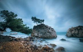 Picture the sky, trees, clouds, stones, rocks, blue, shore, coast, France, The Mediterranean sea