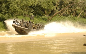 Picture river, soldiers, equipment, fighting boat, SBT-22