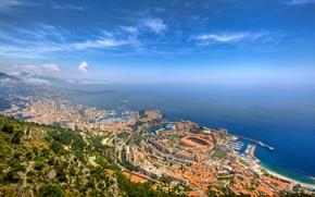 Wallpaper Monte Carlo, Monaco, nature, city, the city, port, sea, the sky, horizon, landscape, space