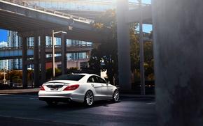Picture Mercedes-Benz, white, AMG, CLS63, vossen wheels