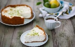 Picture coffee, spoon, Cup, cake, plates, lime, fruit, dessert, cakes, cheesecake, Julia Khusainova
