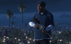 Wallpaper Game, Weapons, Grand Theft Auto V, GTA V, Franklin, Clinton, The Saints, Nigth