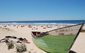 Picture sun, liquid, beach, Portugal, people, sand, hot, water, boat, Lisbon, blazing
