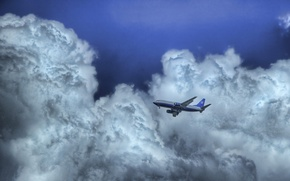 Picture the sky, clouds, The plane