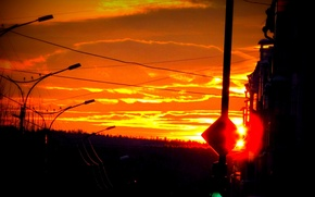 Picture sunset, the evening, crossroads, winter.