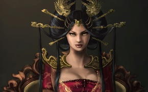 Picture girl, decoration, dragons, art, hairstyle, Queen