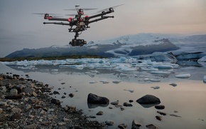 Wallpaper ice, camera, drone, intelligence, BLAH, helicopter, shooting, the study, hills, flying, observation, archaeology, aerial photography, ...