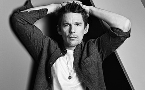 Picture pose, photo, portrait, actor, black and white, shirt, Ethan Hawke, Ethan Hawke, California Style, Mark …