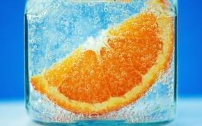 Picture ice, macro, glass, orange