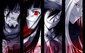 Picture scarf, glasses, chain, tie, Anime, Alucard, Hellsing, anime, Integra, Helsing, Alukard, Lady Integra