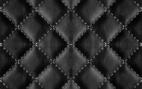 Picture background, texture, leather, thread, black, leather, firmware, quilted